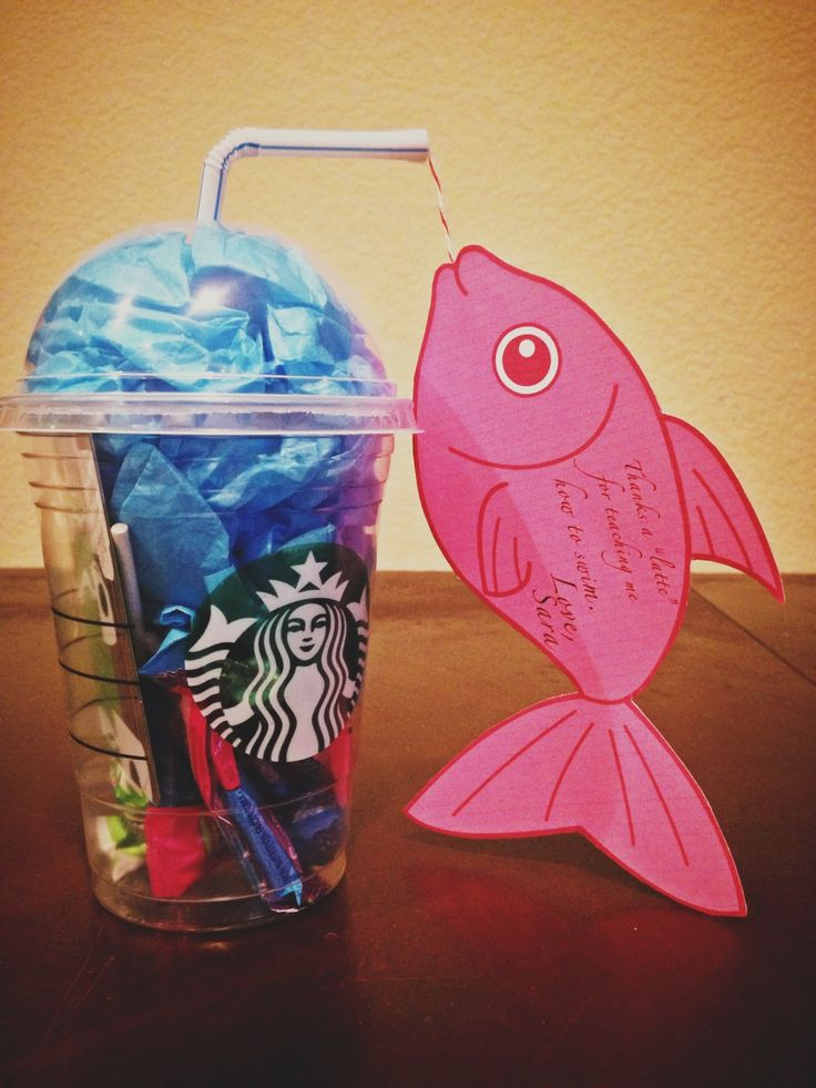 "Gift for swim teacher: throw a Starbucks gift card in an unused Starbucks drink container and stuff with candies and tissue paper. Add fish card. #swimteachergift #gift #swimming (thanks a ""latte"" wording from Pinterest)"