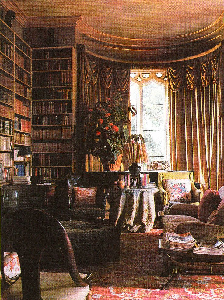Haseley House Library. Interior Design John Fowler and Nancy Lancaster