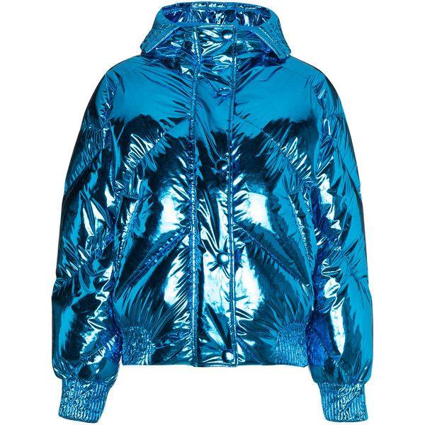 Ienki Ienki Metallic cropped puffer jacket (430 KWD) ❤ liked on Polyvore featuring outerwear, jackets, coats, blue, metallic jackets, cropped puffer jacket, feather jacket, puffy jacket and cropped jackets