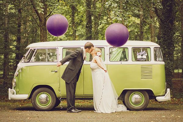 Green VW Campervan Bride and Groom Purple Balloons