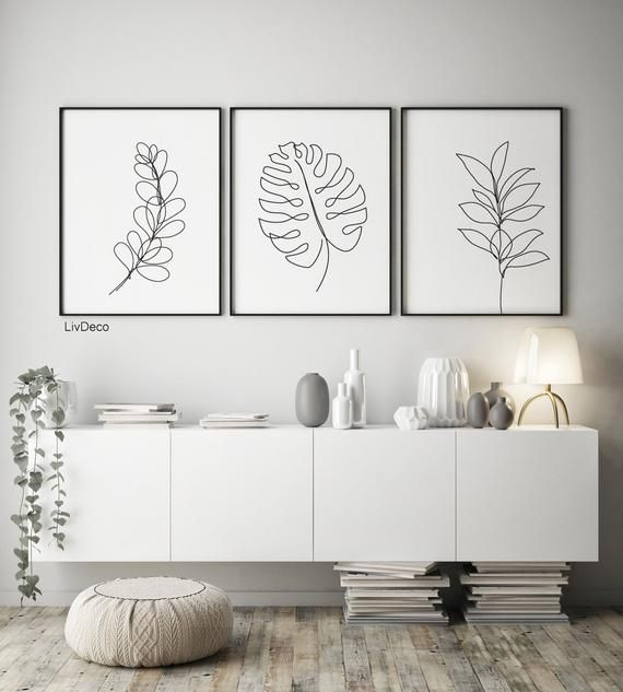 Botanical printable art, Set oj 3 Prints, One line drawing leaves, Minimalist Art plant, Scandi Poster Living Room Art