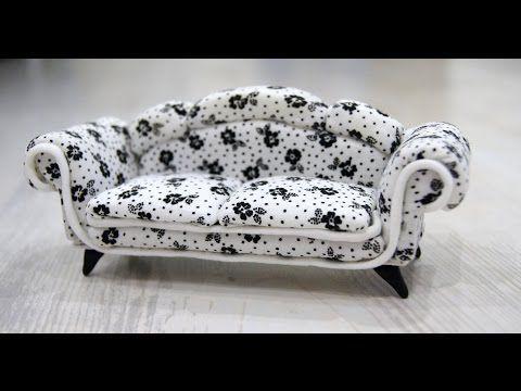 Мягкая мебель (кукольная миниатюра). Диван и кресло. - YouTube