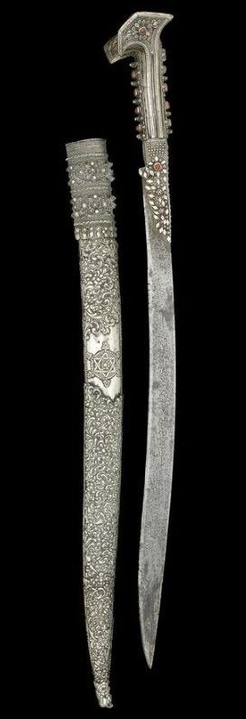 Ottoman Coral-mounted Steel Yataghan Sword. Dated: AH 1216/ AD 1801-2. Place of Origin: Turkey.