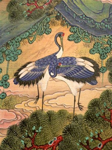 Detail on Korean Joseon period silk screen 19th C. from the The Ten Symbols of Longevity, from the Murray Warner Collection.