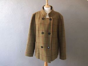 Joules Tweed Jacket Size 18 Wool Green Brown Short Coat Check Plaid Warm Country  | eBay
