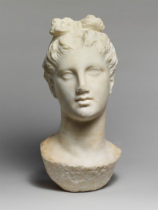 Marble head of a young woman from a funerary statue  Period: Late Classical Date: late 4th century B.C. Culture: Greek, Attic