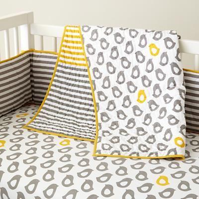Peep grey and yellow baby bedding!