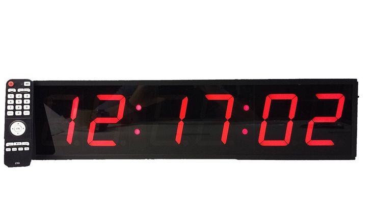 """Extra Large Digital Wall Clock - 4"""" LED Count Down/Up/Interval Timer/Stopwatch Remote Control Wall Clock. Extra Large 4"""" Led Count Down/Up/Interval Timer. You can also store up to 8 programs for easy recall on the fly. The high powered remote control clock and Super Bright LED's visible from over 200 feet. 38 key Infra Red Remote control for controlling on the fly. Stopwatch Remote Control Clock."""