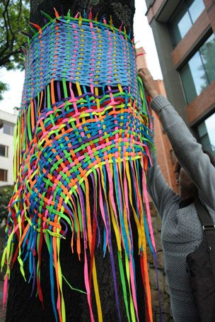 Dress For a Tree Made out of shoelaces