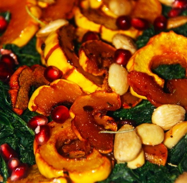 Roasted Delicata Squash Salad with Harissa Dressing