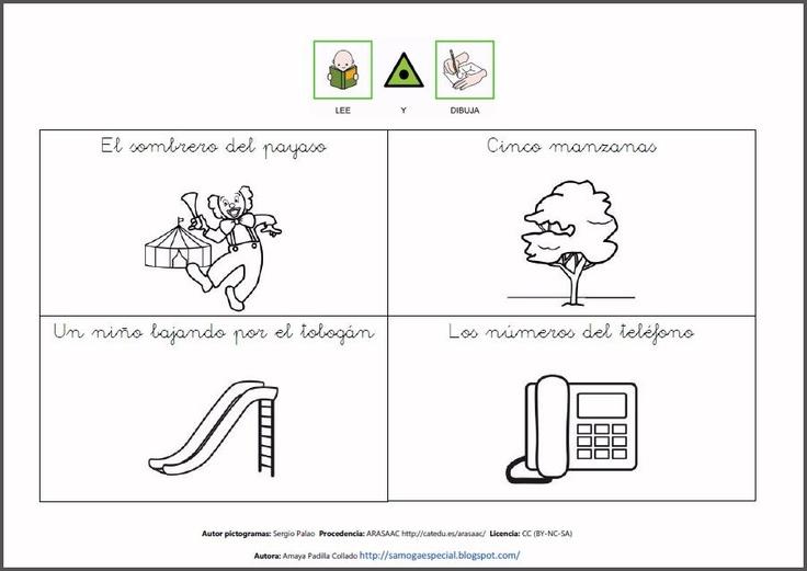 MATERIALES - Lecturas comprensivas con dibujos.    Fichas para completar los dibujos con instrucciones escritas para favorecer la adquisición de la lectura comprensiva.    http://arasaac.org/materiales.php?id_material=664
