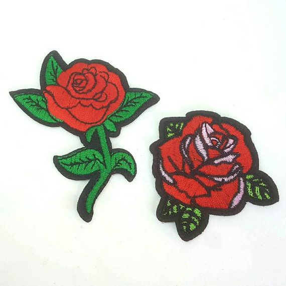 Set of red roses tattoo embroidered applique patches