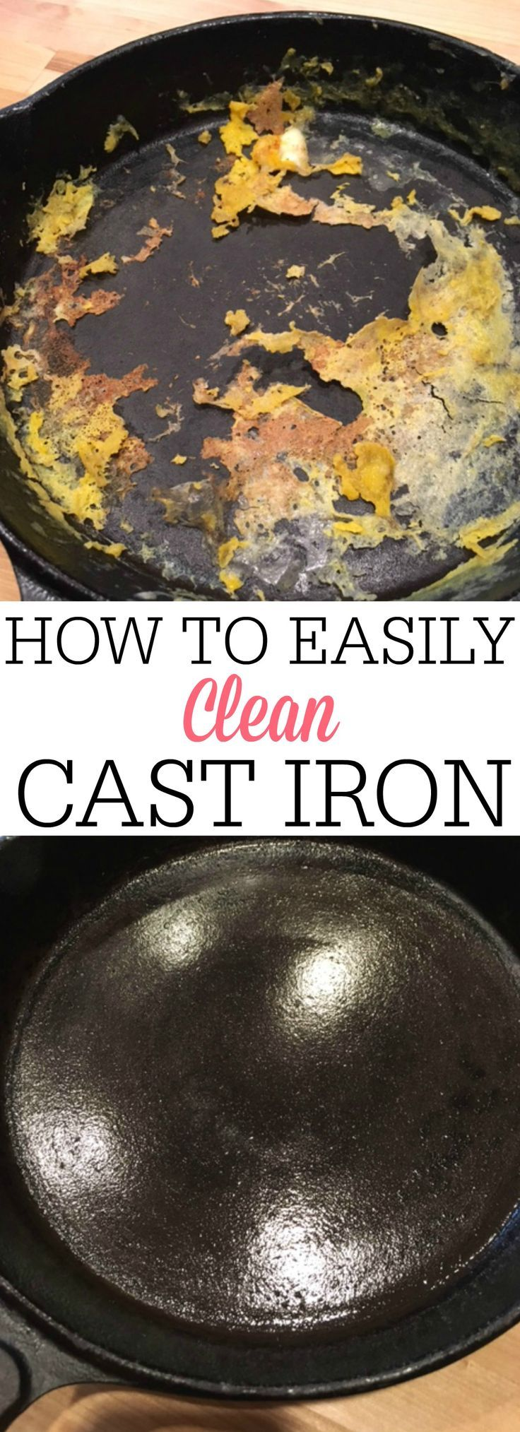 Clean your cast iron skillet in SECONDS with this simple tip. See how to easily clean a cast iron skillet and never have to scrub again.