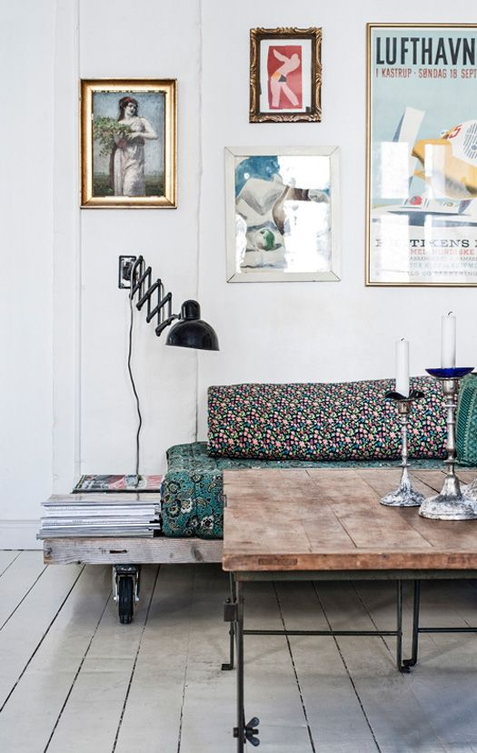 Industrial eye candy - desire to inspire - desiretoinspire.net - palate sofa with room for magazines and lamp
