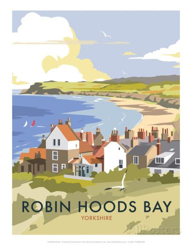 Robin Hoods Bay - Dave Thompson Contemporary Travel Print Prints by Dave Thompson at AllPosters.com