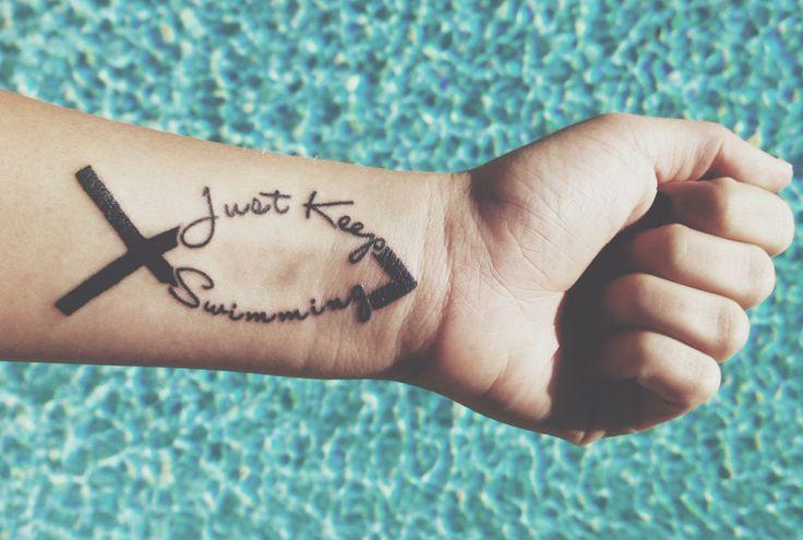"""""""Just Keep Swimming"""" Jesus Fish tattoo"""