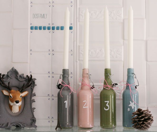 adventsljusstake, ljusstake, advent, advent diy, christmas diy, dosfamily, isabelle mcallister, advents ljusstake, glass bottles, glass diy, colored glass, candles, candles diy, christmas light, christmas lights