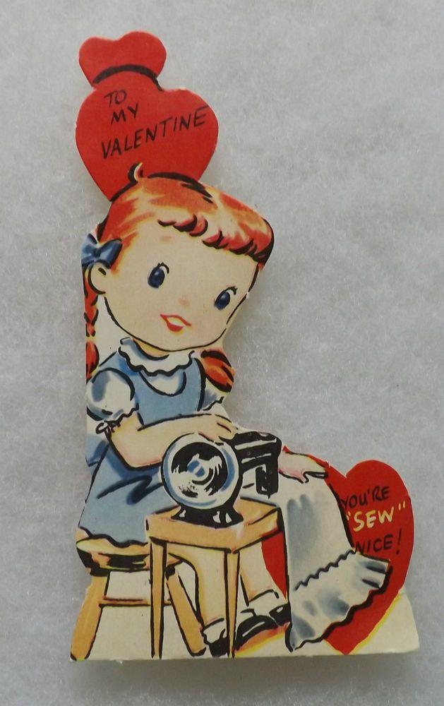 Vintage Valentine Card Girl Using Singer Type Sewing Machine - Sew Nice