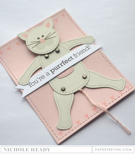 Purrfect Friend Card by Nichole Heady for Papertrey Ink (December 2016)