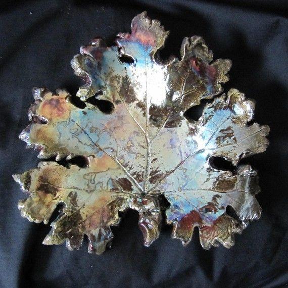Raku pottery falling leaf by KathariyaShelton on Etsy