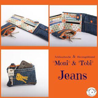 Schlüsseltasche und Geldbeutel aus Jeans Ebooks von sticKUHlinchen