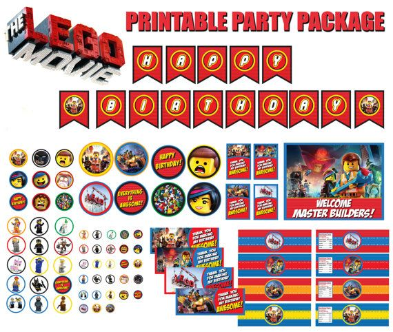 New Design! The Lego Movie Party Package—INSTANT DOWNLOAD on Etsy, $15.00