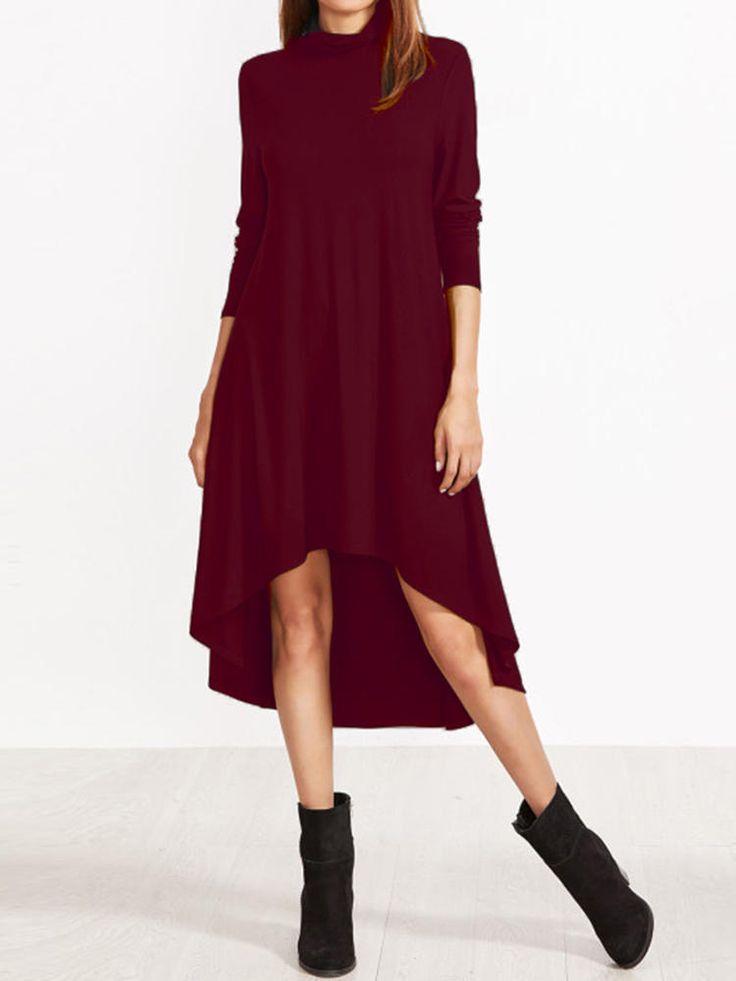 Women Turtleneck Asymmetrical High Low Hem Long Sleeve Dress at Banggood  #women #fashion #accessories