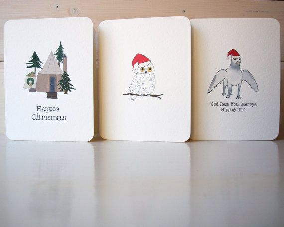 Hand-Drawn Harry Potter Themed Christmas Cards on Etsy, £3.40