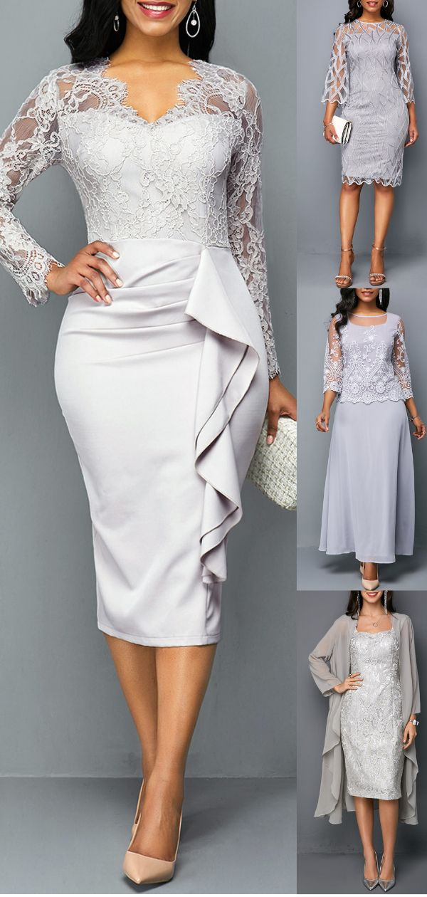 This grey dress with bodycon andlace chiffon design can show your sexy perfectly…