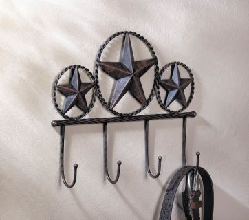 """by Accent Plus Western flair and a place to hang your hat is just what your room needs! Four classic hooks hang from this rustic Western star wall decor so you can keep your coats, bags, umbrellas, or even towels organized. 14"""" x 1.75"""" x 11""""  www.allgooddecor.com/shop.html #allgooddecor #decorations #gifts #candles #toys #discount #furniture #candleholders #home #figurines #lighting #pictures #mirrors #jewelry #garden #clearance #kitchen #bedandbath #fragrance #walldecor"""