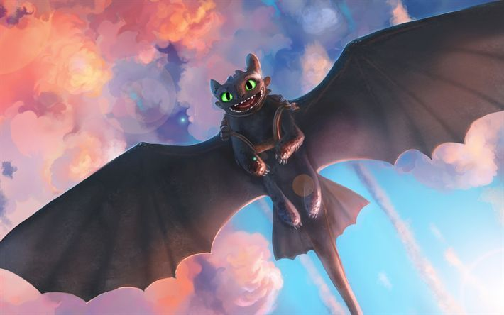 Download wallpaper toothless, 2019 movie, art, how to train