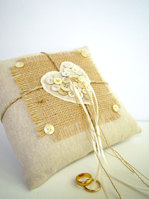 Burlap Ring Pillow Wedding Ring Pillow Ring Bearer by TwiningVines, $35.00