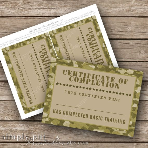 Army Camo Certificate of Completion Printable | Basic Training Military Party | Boot Camp | Camouflage | Boys Birthday Digital File
