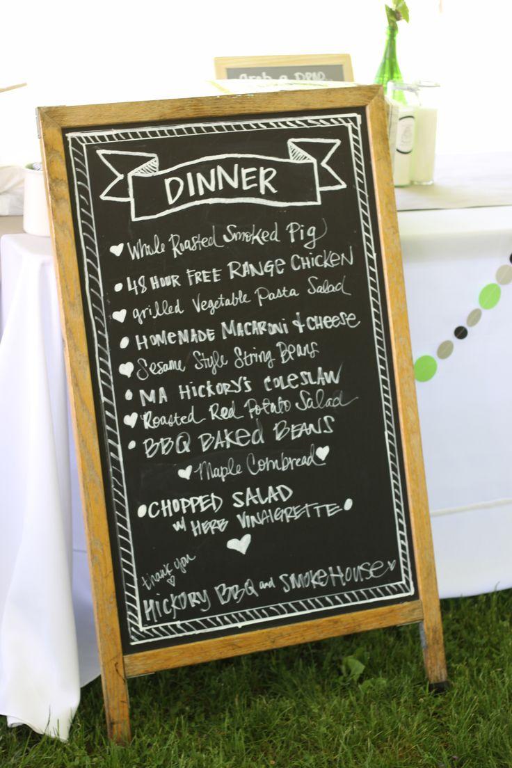 Rustic wedding, BBQ, pig roast, chalkboard menu