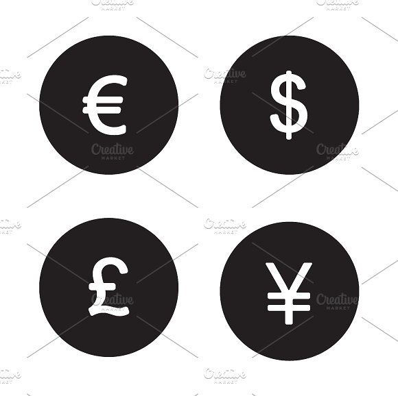 Currency symbols icons. Vector by Icons Factory on @creativemarket