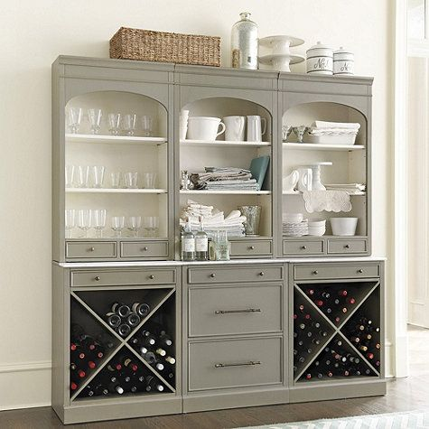 For the built-in desk wall replacement - change to three sets of drawers rather than wine storage.