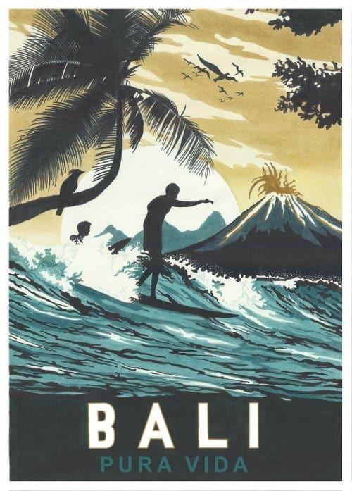 Vintage Art Print Bali Pura Vida Let S Travel To In 2019