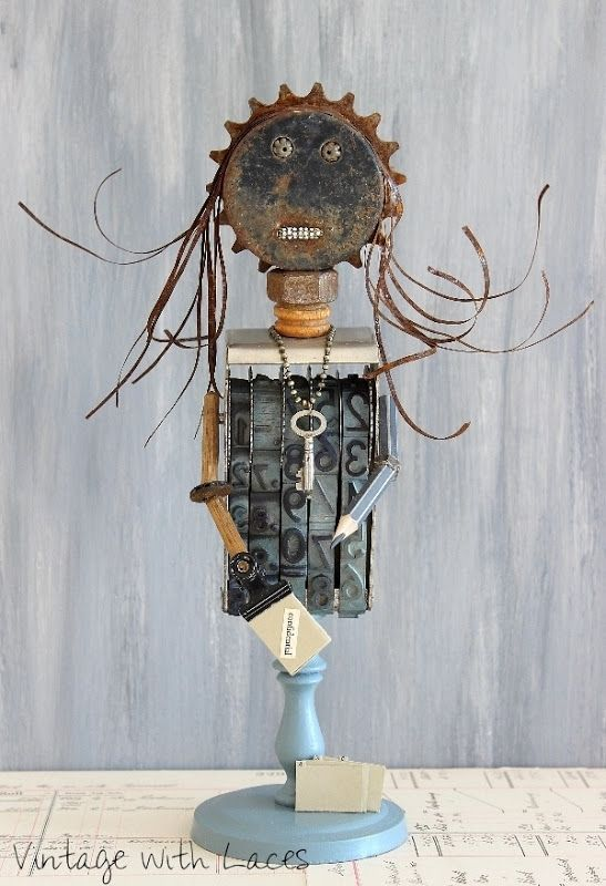 Office Joy - Found Object Sculpture by Vintage with Laces_thumb[2]