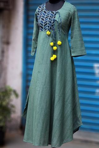 anghrakha dress - glorious ikat & ajrakh