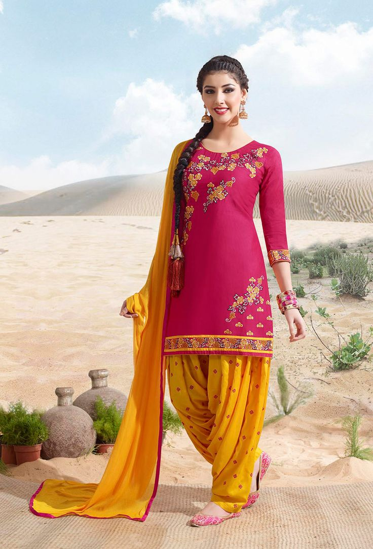 #Pink And #Yellow Cotton #Patiala #Suit #nikvik  #usa #designer #australia #canada #freeshipping #readytoship #readytomove