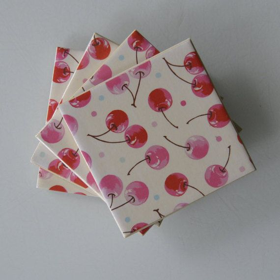 """Hand-crafted Ceramic Tile Coaster - """"Cherries"""""""