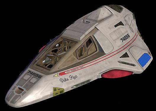 The Delta Flyer/Delta-class shuttle. I have one of these in Star Trek Online and Second Life.