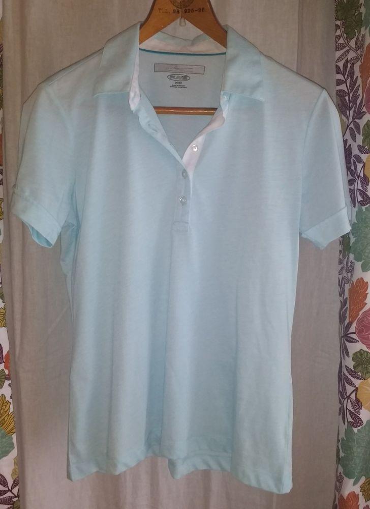 Greg Norman Golf Women s sz Medium light blue polo collar shirt