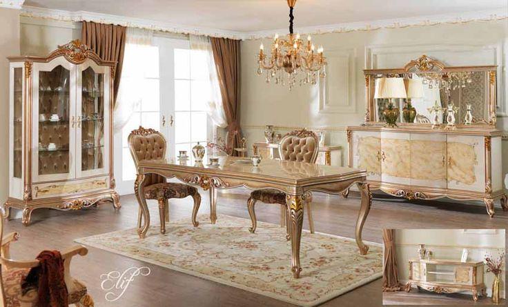 Maria Lüks Klasik Yemek Odası Takımı.  #YemekOdası #DiningRoom #Decoration #Ev #Dekorasyon #Moda #Mobilya #Furniture