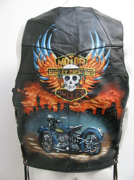 Black Leather Biker Vest Vintage Mens Pre-owned by Atomicfireball