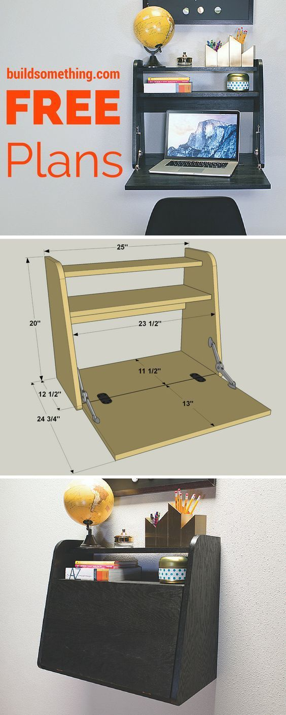 Create a work space almost anywhere with this DIY drop-front desk. Mounted to a wall, it doesn't take up floor space, and it can be installed at a height that's convenient to work standing or sitting. The desk is made from a half-sheet of plywood, and uses unique hinges and supports for the desktop. Get the free printable plans at buildsomething.com: