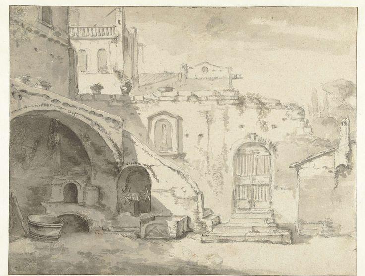 Thomas Wijck | Romeinse binnenplaats, Thomas Wijck, 1644 - 1653 | Italiaanse binnenplaats met een gesloten poort. Onder een stenen trap bevindt zich een nis met takelinstallatie.