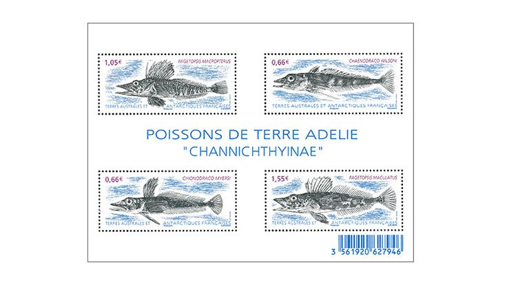 "COLLECTORZPEDIA: TAAF Stamps Block Antarctic Fish ""Channichthyinae"""