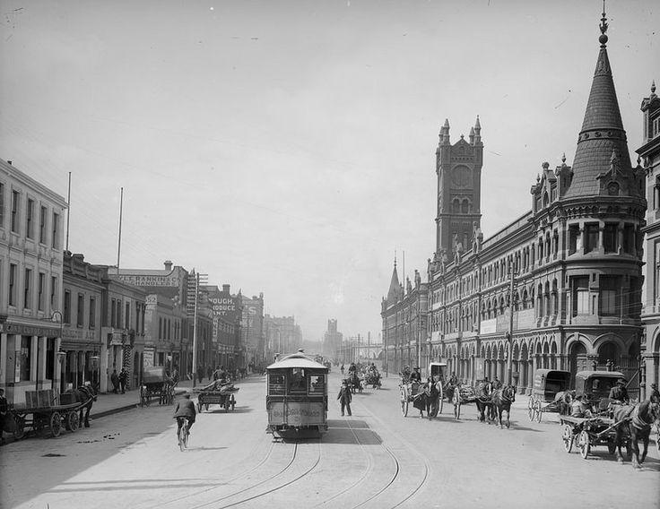 Flinders Street with old fish market, c.1900. SLV