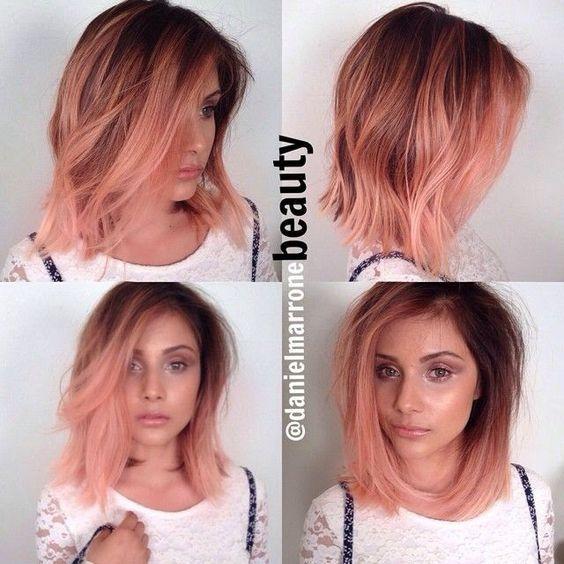 Rose gold w brown hair: